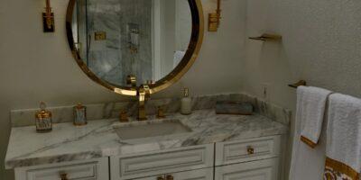 Stunning Marble & Gold Bathroom Remodel