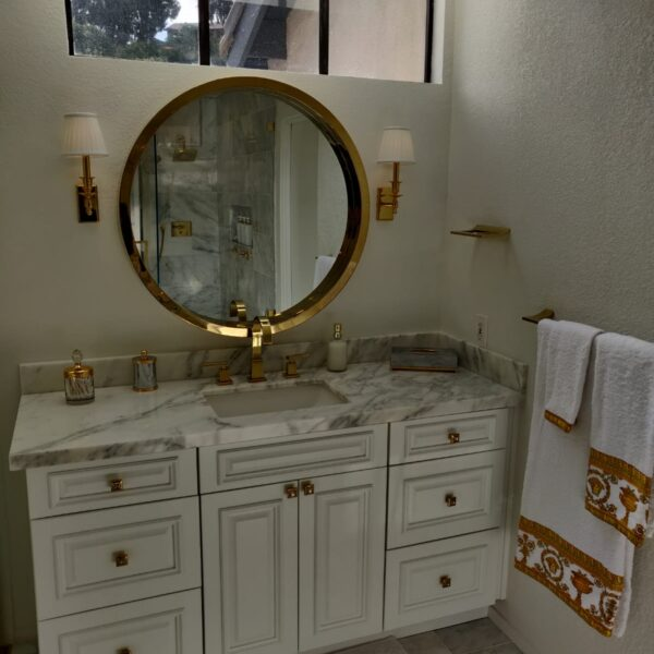 Stunning Marble & Gold Bathroom Remodel